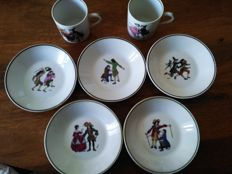 "Lot of 7 saucers + 2 cups ""MOLIÈRE"" national company of porcelain"