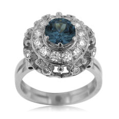 Diamond and Aquamarine Ladies' Entourage Ring, As New.
