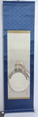 Scroll painting of Bodhidharma. hand-painted on silk  - Japan - mid 20th century