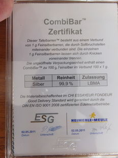 "Credit Suisse 'CombiBar' of 100 x 1 gram fine 999/1000 silver, in original seal with certificate issued by ESG- ""Heimerle+Meule"" (LBMA) Germany 2011"