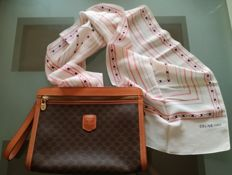 Celine Set- Clutch and long scarf 100% silk