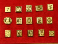 World - Collection of 15 different silver stamp replicas with 24 kt gold-plating