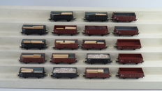 Piko H0 - 57742/59126/5/6444-010 - 19 piece open freight carriages, partly with load of the NS
