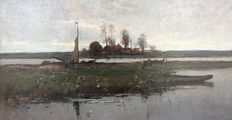 Paul Bodifée (1866 - 1938) - A small ferry across the river IJssel near Deventer
