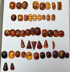 Large, mixed collection of semi-worked Baltic Amber- 15 to 26 mm - 0.6 to 2.8g - 66.8g  (47)