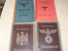 Leather Briefcase 2 workbooks + 1 pay book + 1 German Reich post umc several passbooks and 4 navy books from berlin