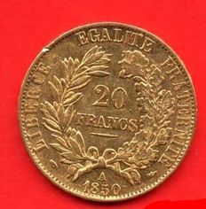 France - 20 Francs 'Ceres' 1850-A - Gold