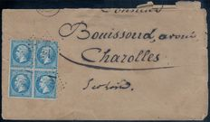 France 1863 - Napoleon 20 c blue - Block of 4 on a letter - Yvert no. 22.
