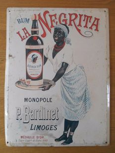 Metal sign for 'Rum La Negrita' from 1960