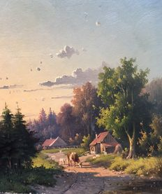 Willem Kooiman Azn. (1831 - 1881) - Cows and sheep on a sandy track