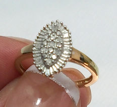 925 Silver Ring With Diamonds, Ring Size M/16 mm