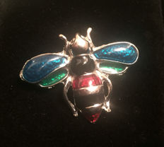 Sterling Silver Enamel Scarab / Bee Bug Brooch Pin