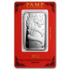 Schweiz - Pamp Suisse - 1 oz 999 Silberbarren Lunar Jahr des Drache - Year of the Dragon 2012 -