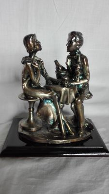 Sitting young men - 925 silver plated