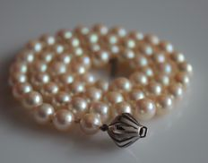 Pearl necklace with a 14 kt white gold clasp, length: 44.5 cm