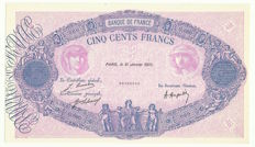 France - 500 Francs 'Blue and Pink' 1921 with perforation CANCELLED