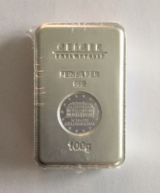 "Germany: 100 g silver bullion ""Security Line"" Castle Güldengossa"
