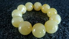 Baltic Amber Rare White-slightly yellow colour bracelet, No reserve,  42 grams