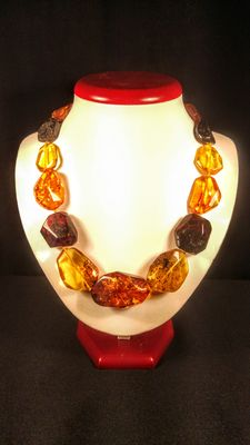 Antique faceted beaded Natural Baltic Amber necklace, 66 grams