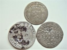 Zwolle and Utrecht – Rider shillings ('rijdersschellingen') of 6 stuivers 1680 and 1682 with strike + mint master's medal 1758 – silver
