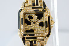 CARTIER Panthere Limited Edition diamonds - dameshorloge met diamanten en zwarte emaille - jaren 80