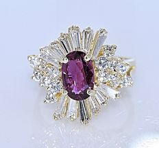 Pink Tourmaline and Diamonds, Kingly ring - Size: 12. Inside diameter: 16.6 mm - No reserve price!