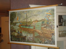 Three roll up linen posters of Isings: 'The relief of Leiden', 'City life in the middle of the 19th century' and 'Roman army camp by the Rijnmond'