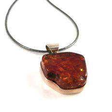 Baltic Amber and 925 silver pendant with hematite necklace, 100% natural, not pressed, not modified