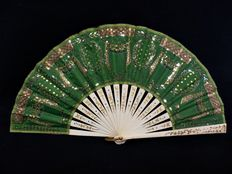 An Empire style folding fan - carved bone and embroidered organza with paillettes - Spain of France - late 19th century