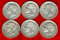 Spain - Set of 6 silver coins of 5 pesetas - Alfonso XII, all different (1876, 1877, 1878, 1883, 1884, 1885*85). (6).
