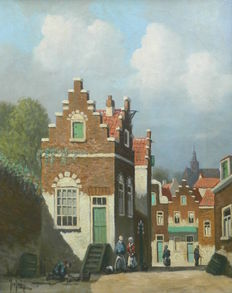 Unknown (20th century) - Dutch cityscape with figures