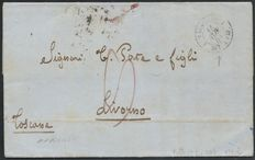1853 France - maritime BAT letter. A VAP.1 from Marseille to Livorno, Tuscany