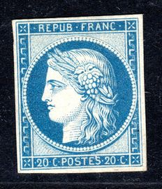 France 1862 - 20c. Reprint of 1862 - Yvert 8f with certificate from Calves
