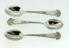 """Essex Motor Club"" Set of Three Solid Sterling Silver Spoons, Dobson & Sons, London 1914"