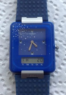 "Tissot twotimer, marketed in 1986, RARE type ""Snow"", N.O.S., WITH ORIGINAL STRAP AND BOX"