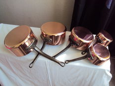 Set of 5 tinned copper pans 1960/1970