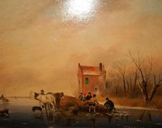 Jack Bekers - ( 1944 - 2016 ) - Winterlandscape with people, horses and a dog.