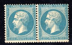 France 1862 - Horizontal Pair of 20c. Blue - Yv# 22 with certificate from Calves