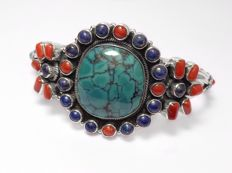 925 Sterling Silver Turquoise with Coral and Lapis Lazuli Bangle