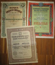 China / Russia - 3 different Foreign Chinese Banks - Share Certificates 1911/1926/1938 - Lot of 3