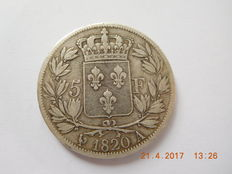 France – 5 Francs 'Louis XVIII' 1820-A Paris – Silver