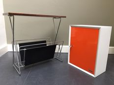 Brabantia – metal wall cabinet, with a vintage magazine rack / side table