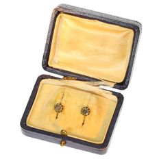 Gold antique rose cut diamond earrings - 1870