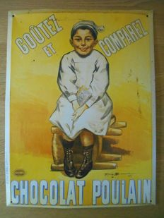 Metal sign for Chocolat Poulain from around 1960