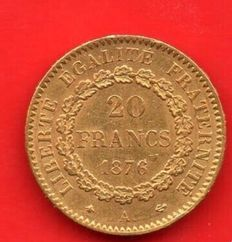 France - 20 Francs 'Genius' 1876-A - Gold