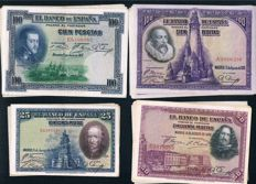 Spain - lot of 40 different banknotes. Years 1925 and 1928
