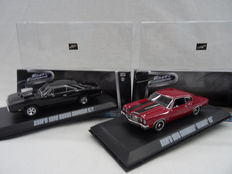 "From the movie ""The Fast & The Furious"" - Dom's 1970 Chevrolet Chevelle SS & Dom's 1970 Dodge Charger R/T - Greenlight - Scale 1/43"