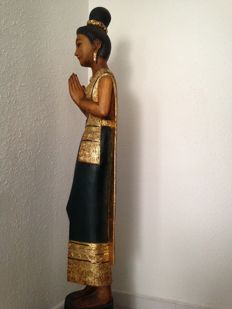 Wooden statue of a woman - Probably Thailand - 2nd half 20th century