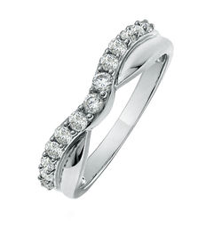 White gold wedding ring with diamonds of 0.50 ct in total - Standard size: 16.8 mm (approx.)