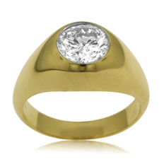 18kt yellow gold ring with a solitar diamond of 1.8-2ct - size 64